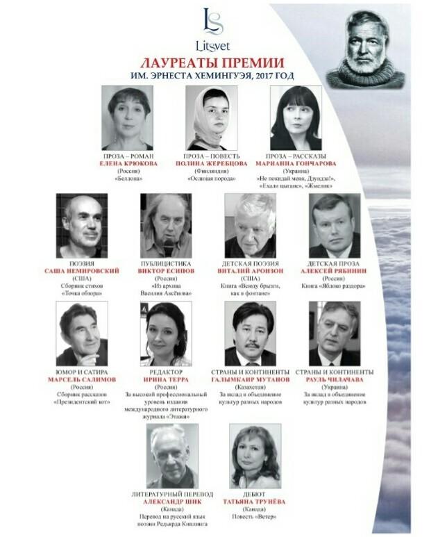 Писательница изНижнего Новгорода стала лауреатом премии Эрнеста Хемингуэя