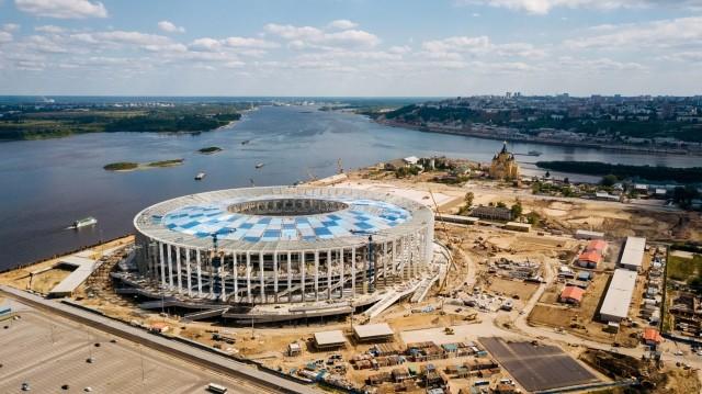 Монтаж кровли над трибунами завершен на«Стадионе Нижний Новгород»