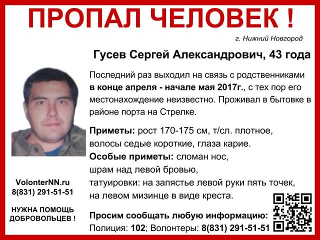 43-летний Сергей Гусев пропал вНижнем Новгороде