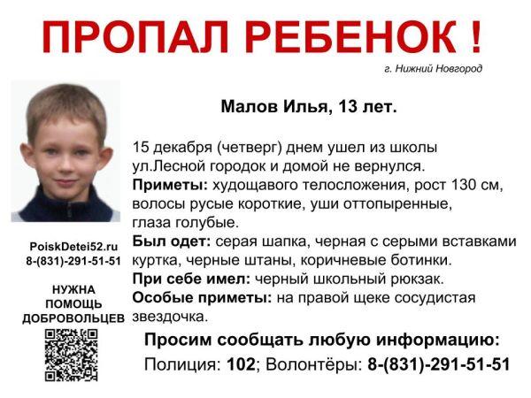 Волонтеры просят помощи впоисках пропавшего 15декабря 13-летнего нижегородского подростка